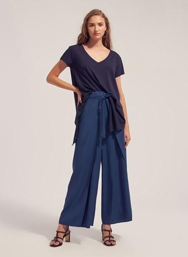 Monamoda Modal İplik Asimetrik T-Shirt Lacivert